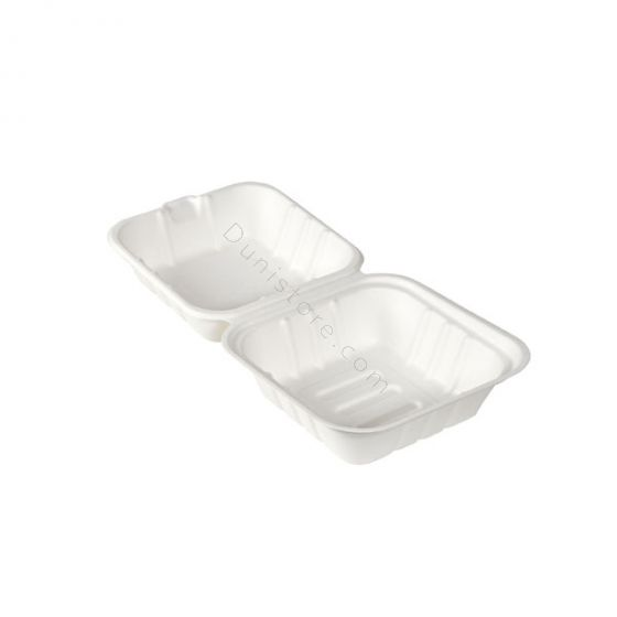 Suikerriet Bagasse Hamburgerbox 162x152x80mm 475ml