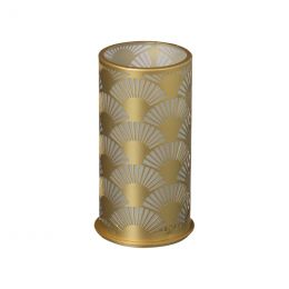 LED Candle holder 140x75mm Peacock metal gold