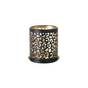 Candle holder metal 75x75mm Safari Leopard