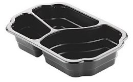Take-Away Tray Mineral 3 vaks 550+350+200ml zwart