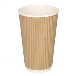 ECO Triple Wall Kartonnen Koffiebekers 470ml 16oz bruin