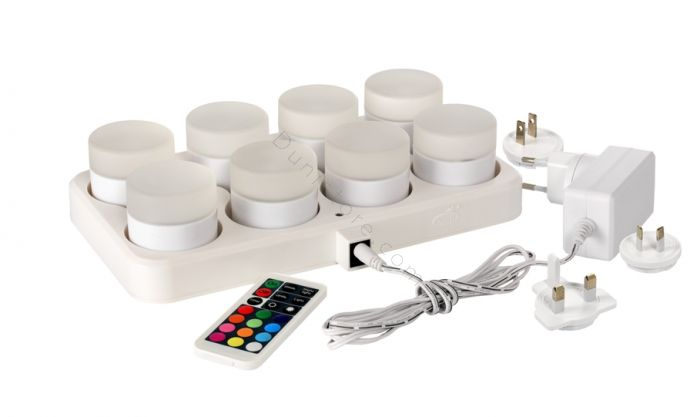 Candle LED rechargeable multicolor 8 mini lamps