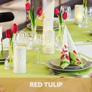 Duni tafelaankleding Red Tulip